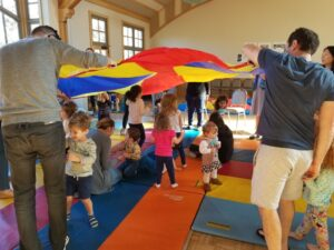Happy kids with parachute