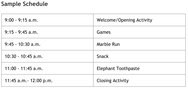 Sample STEAM Camp Schedule